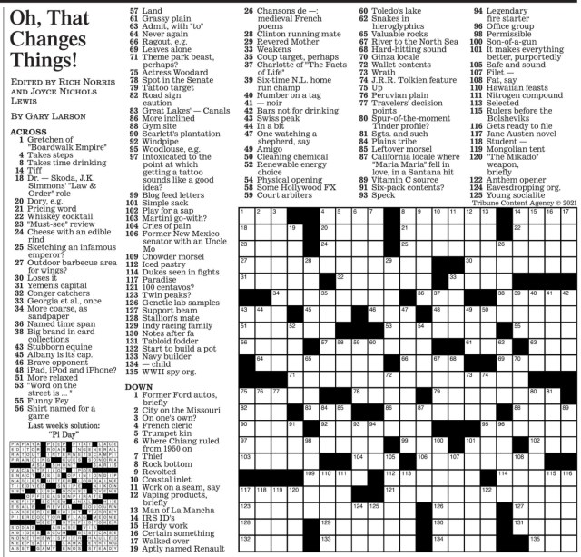 Sunday Los Angeles Times Crossword Puzzle (March 23rd)