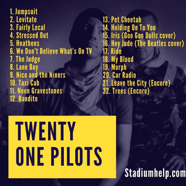 twenty one pilots trench setlist