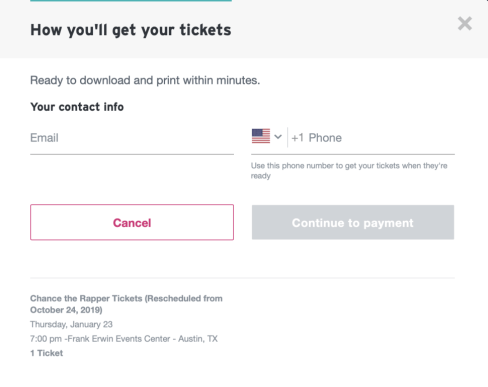 payment phojne number and email page for stubhub guests