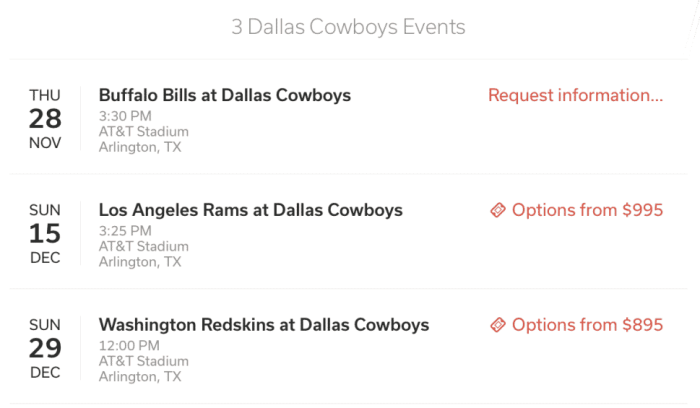 stadium suites search result for dallas cowboys as an example