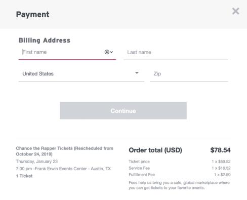 stubhub billing address screen during checkout.
