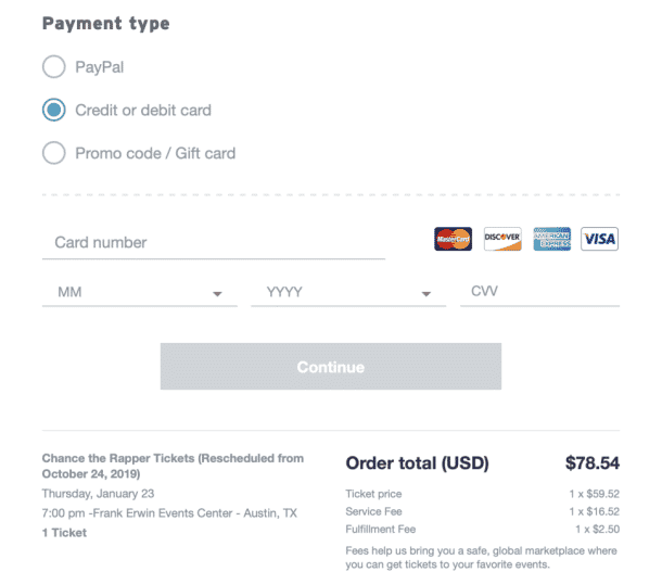 stubhub payment type for entering your credit card info