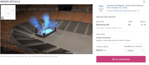 ticket previes screen that shows you your seat view.