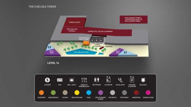 cosmopolitan las vegas resort map level 14 pool
