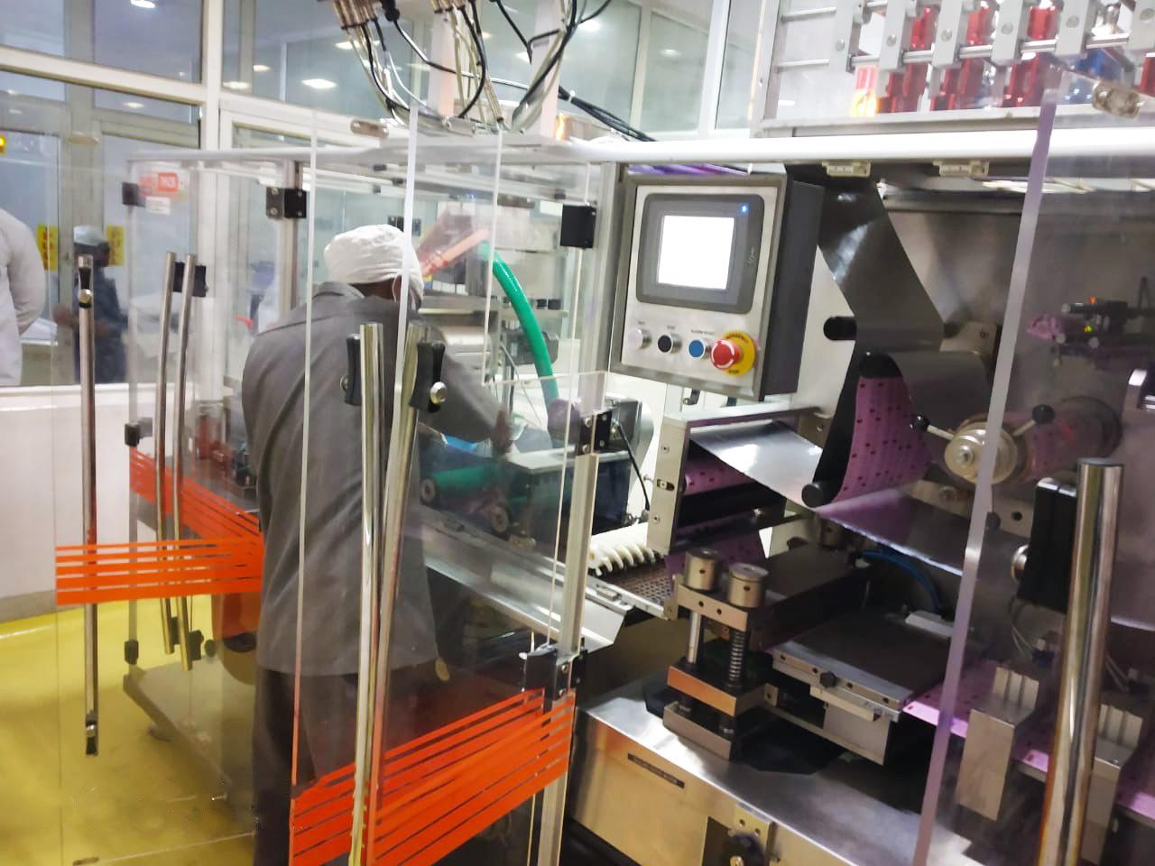 Stadmed uses automated tabled packaging machines for production. Shown here is a machine that produces packaging of the blistering variety.
