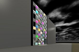 市松模様のおしゃれなテナントビル CGパース