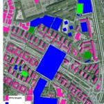 Karta över befintlig bebyggelse (2011) och planerad ny (2030) bebyggelse i Rosengård.