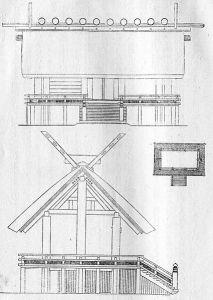 Typisk arkitektur från Kofunperioden: Upphöjt golv, veranda, pelare som sticker ut från taket och korslagda pelare som dekoration på taktoppen.