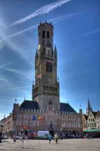 Belfort van Brugge i Belgien med sitt torn. Bild: Solipsia