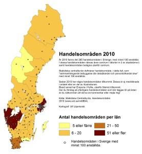 Handelsområden 2010. Källa: Statistiska centralbyrån. Kartograf: Ulf Liljankoski. 2015