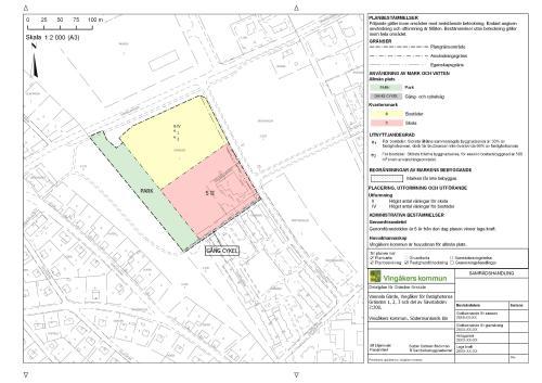 Detaljplan/Plankarta gjord i QGIS: Detaljplan Gränden i A3 skala 1:2000