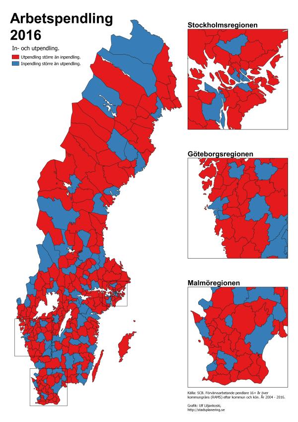 Kartan redovisar vilka kommuner som har större utpendling än inpendling (röd), samt vilka kommuner som har större inpendling än utpendling (blå), av förvärvsarbetande 16+ år.