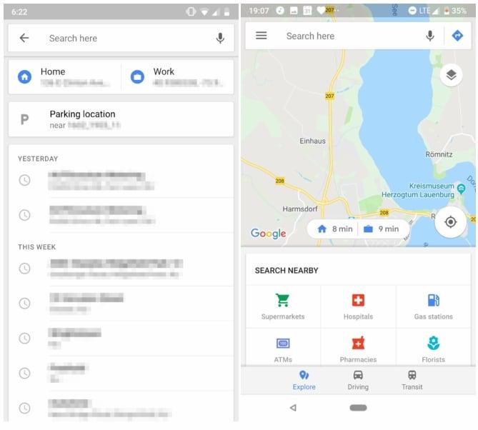 Google Maps für Android: Schnellzugriff für Zuhause und Arbeit wird on