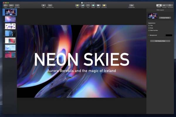 macOS Mojave Dunkelmodus Keynote