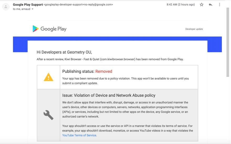Android: Kiwi Browser fliegt vorerst aus dem Google Play Store