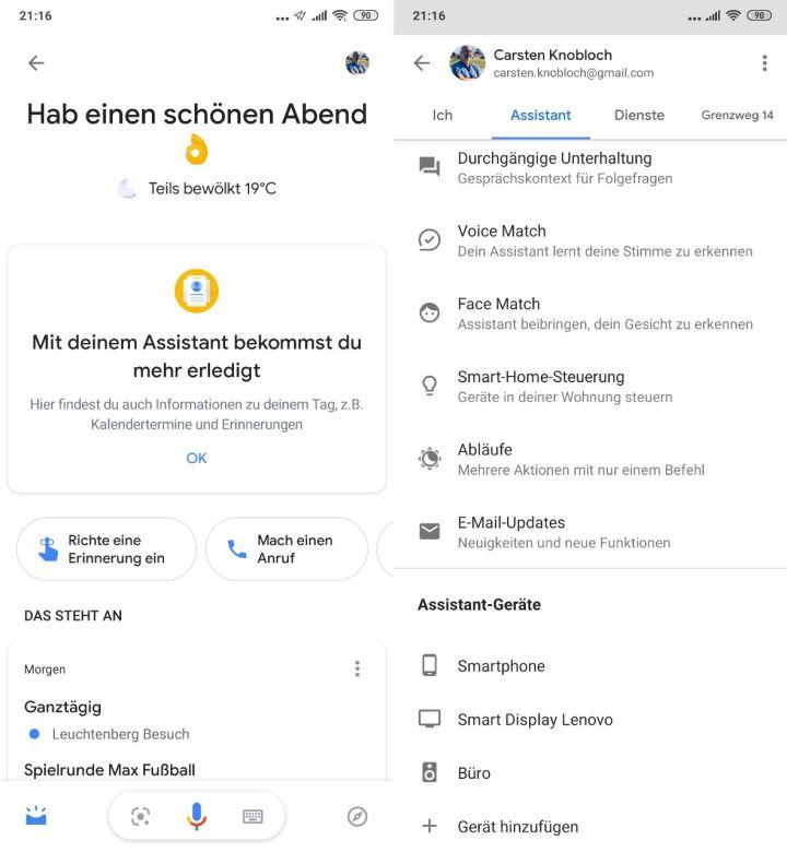 Google assistant ausstellen