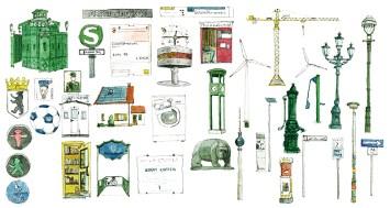 Illustrationen Berlin-Wahrzeichen und typische Elemente für das Cover Geschäftsbericht