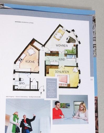 Geschäftsbericht-Innenillustration Wohnungsgrundriss Berlin-Schöneberg im Geschäftsbericht 2016 von ADO