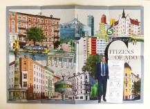 Faltposter im Format A2 mit Berliner Sehenswürdigkeiten und ADO-Gebäuden im Geschäftsbericht 2016 von ADO