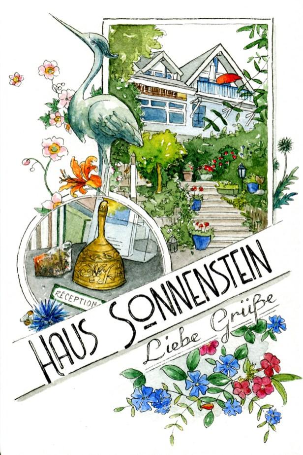 Illustrierte Grußkarte vom Haus Sonnenstein im Stil historischer Postkarten. Technik: Aquarell und Tusche.