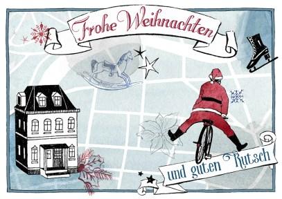 Nostalgische Weihnachtskarte mit Haus, Weihnachtsmann und Stadtplan