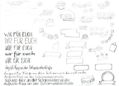 Skizzen: Wir für euch – Auguste-Kiez an der Scharnweberstraße
