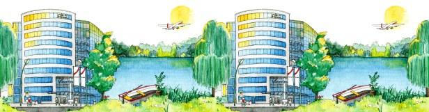 Illustration der Vivantes-Unternehmenszentrale und des Schäfersees