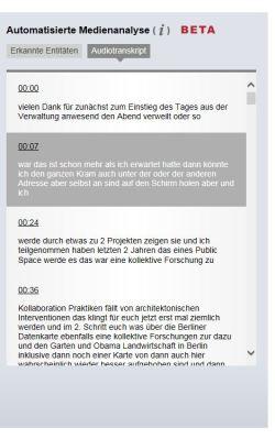 Audiotranskript im AV-Portal der Technischen Informationsbibliothek