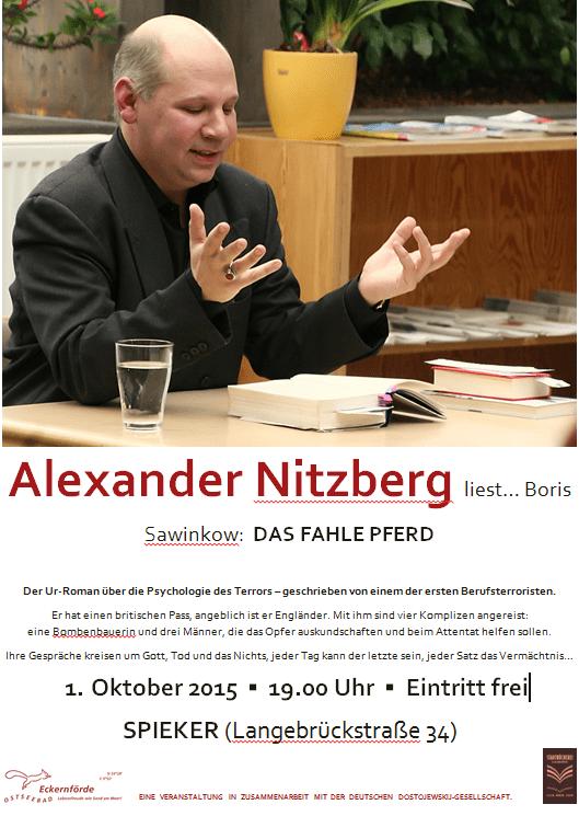 """Plakat zu der Veranstaltung am Doonnerstag, dem 1.10.2015, um 19.00 Uhr im """"Spieker"""" in der Langebrückstr. 34. Eintritt frei"""