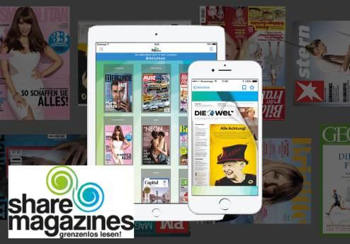 Das Angebot von Sharemagazines auf tablet und Smartphone