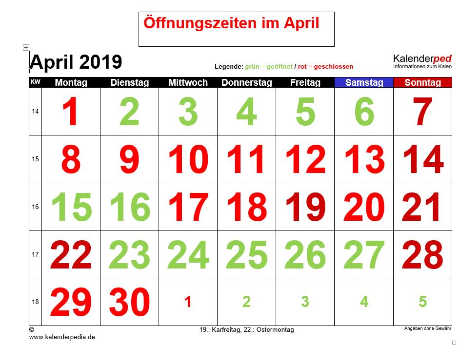 April Öffnungszeiten