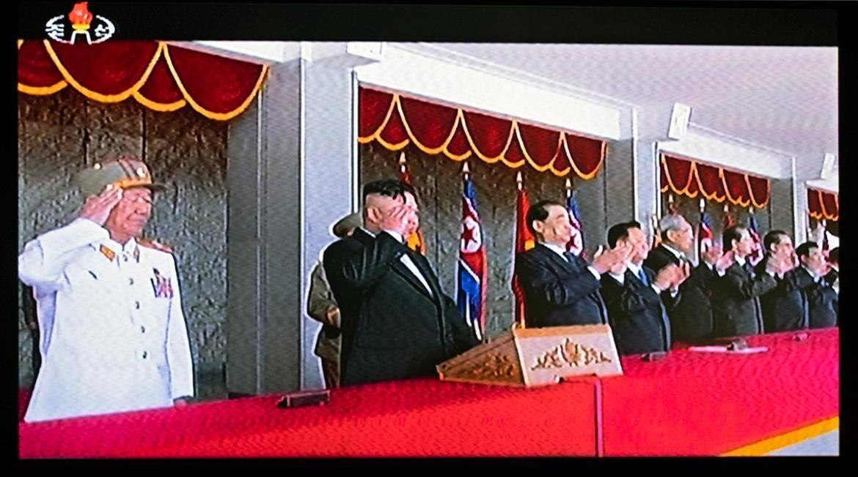 Die Ehrentribüne mit Kim Jong Un