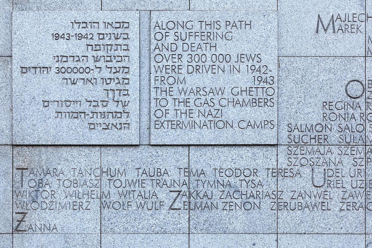 Texte in einer Gedenktafel zum Warschauer Ghetto