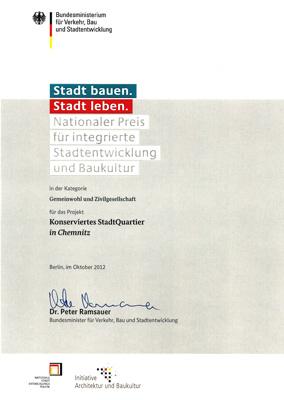 Urkunde: Nationaler Preis für integrierte Stadtentwicklung und Baukultur an Stadthalten-Chemnitz e.V.