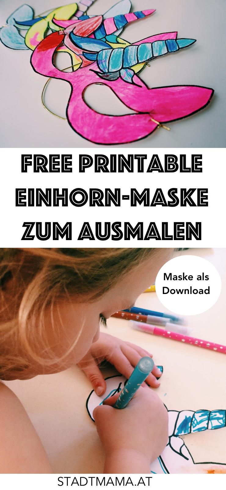 Kostenloses Printable für Einhorn Masken zum Download! Wir haben die Masken auch als Einhorn-Geburtstagseinladungen benutzt.