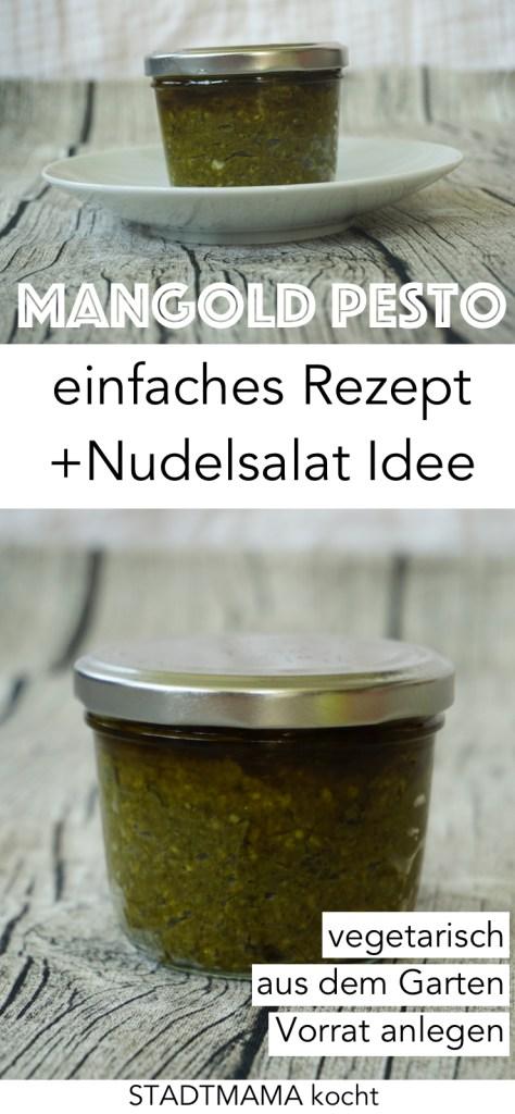 Mein Rezept für Mangold Pesto ist vegetarisch, frisch, geeignet zum Vorrat anlegen und superlecker. So wird Mangold geeignet für die Familienküche. Extra: Nudelsalat Idee mit Mangold Pesto. (Picknick Rezept)