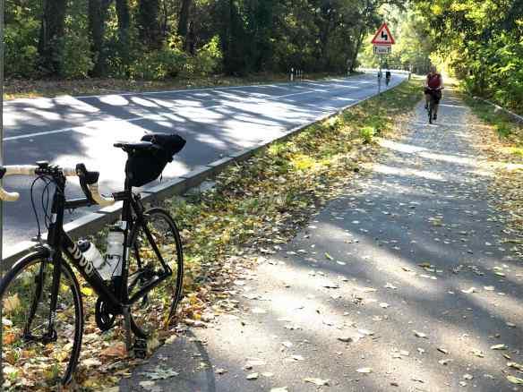 Radweg am Templiner See im Herbst