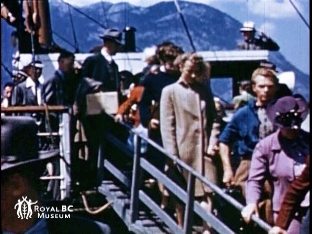 Union Steamship passengers disembark at Squamish. (Video frame grab from