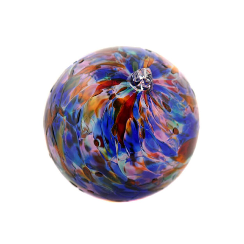 Caliope is a large scale handblown suncatcher in a beautiful mix of colors and is approximately nine inches in diameter.