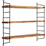 Modern Industrial Metal Torched Wood Adjustable Wall Mounted 3 Tier Shelf