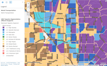 Marketing demographics and other research is often critical to a sustainability product launch. ESRI data mapping here shows the types of communities in the north Orange County area.