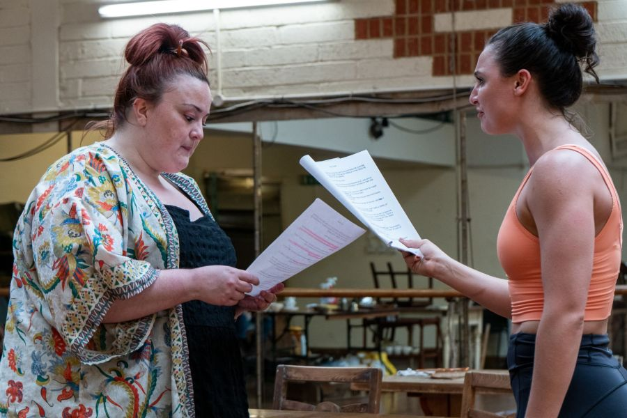 Emma Lindars and Zoe Rogers, Lady Chatterley's Lover rehearsals (credit Bonnie Britain)