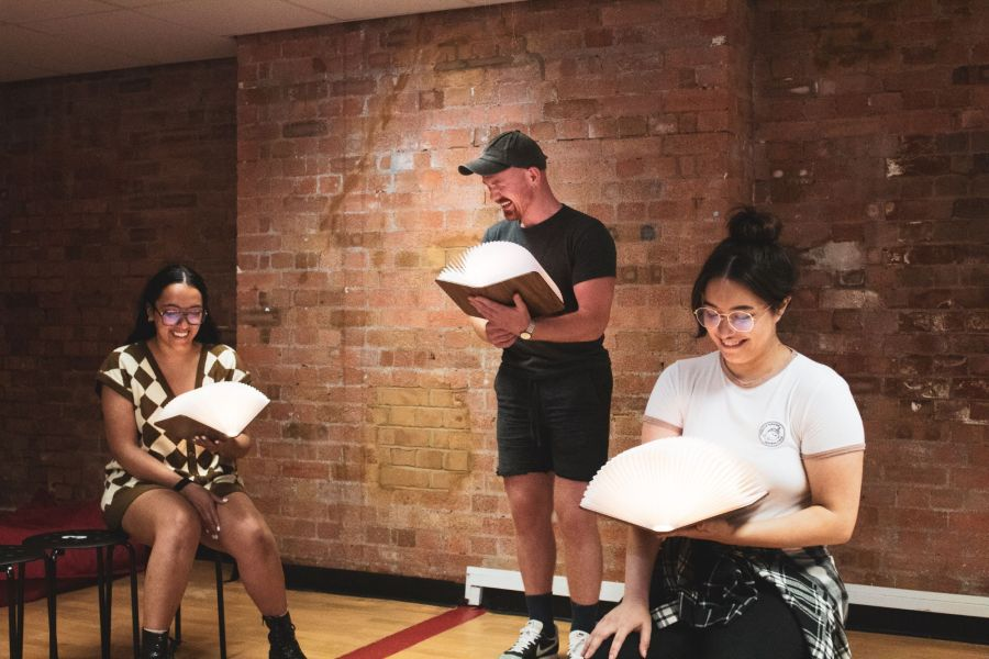 Grace Mouat, Andrew Patrick-Walker and Nicola Espallardo, From Here rehearsals. Picture credit: Lucy Gray.
