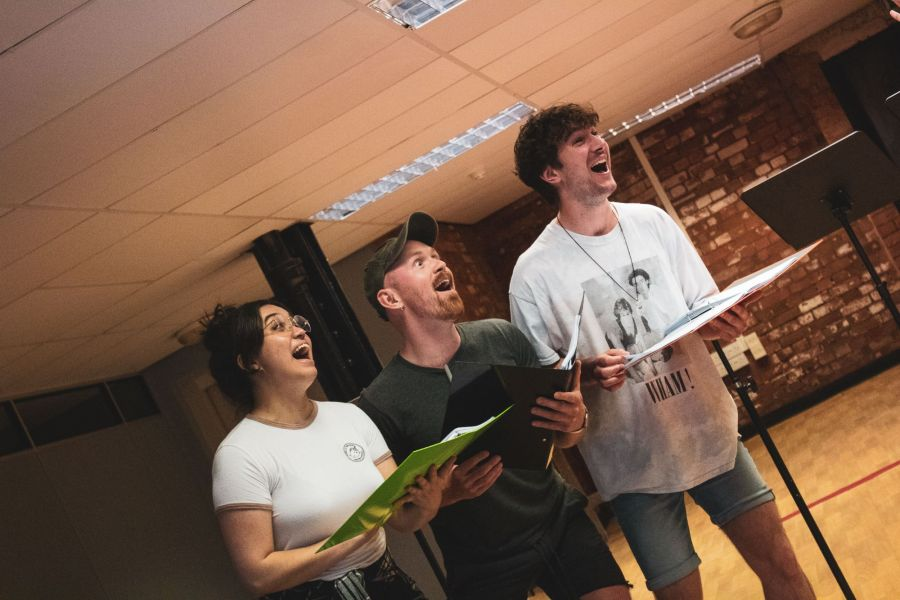 Nicola Espallardo, Andrew Patrick-Walker and Aidan Harkins, From Here rehearsals. Picture credit: Lucy Gray.