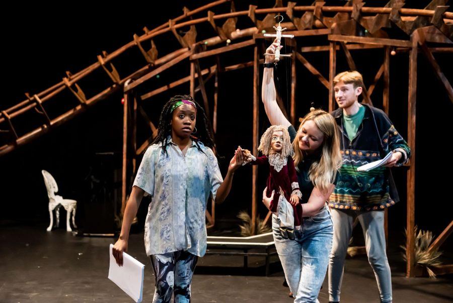 Cassandra Hercules, Alice DeWarrenne and David Haller in rehearasal for Pinocchio at Greenwich Theatre (credit Lidia Crisafulli)