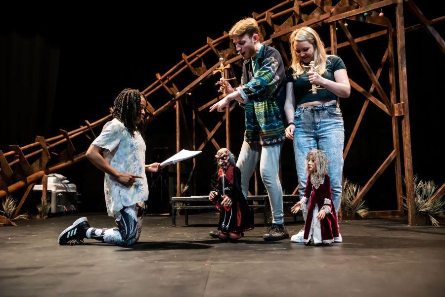 Cassandra Hercules, David Haller and Alice DeWarrenne in rehearasal for Pinocchio at Greenwich Theatre (credit Lidia Crisafulli)