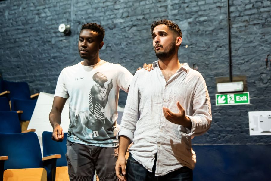 Reice Weathers and Adam Karim in rehearasal for Pinocchio at Greenwich Theatre (2) (credit Lidia Crisafulli)