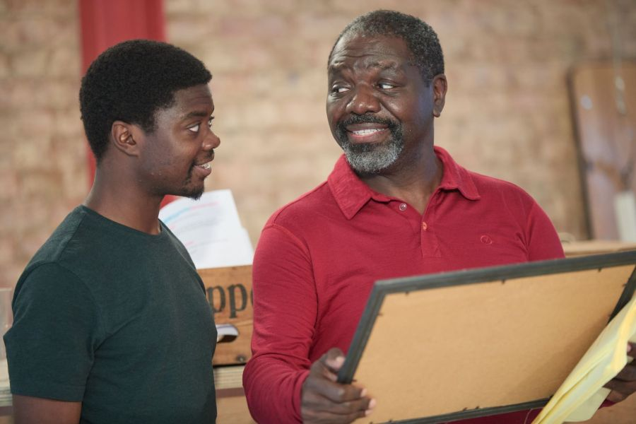 Harold Addo and David Webber in rehearsals for A Place for We By Archie Maddocks at the Park Theatre. Directed by Michael Buffong.