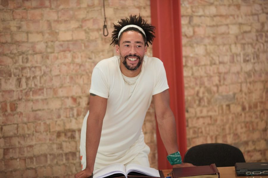 Laurence Ubong Williams in rehearsals for A Place for We By Archie Maddocks at the Park Theatre. Directed by Michael Buffong.