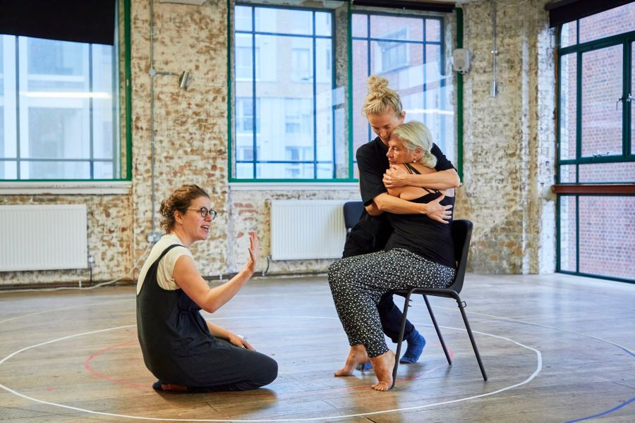 Abigail Graham (director), Sophie Melville (Nina), and Denise Black (Pearl) in rehearsal for Mum. Photo by The Other Richard. (02)